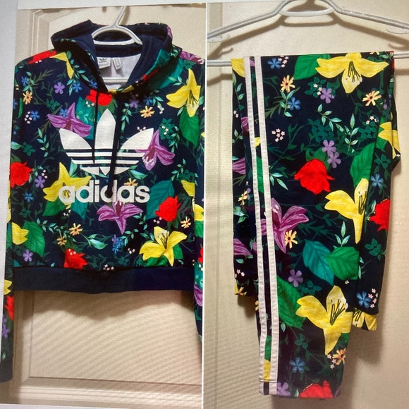 Adidas Crop Floral Hoodie L & Matching Leggings XL